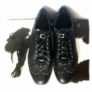 Fendi leather lace up sneakers, size 38.5